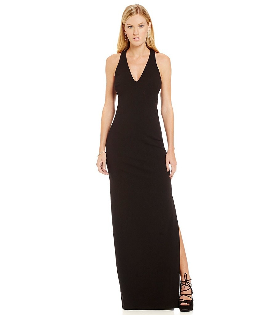 Nicole Miller Collection Jersey Cut Out Halter V-Neck Gown
