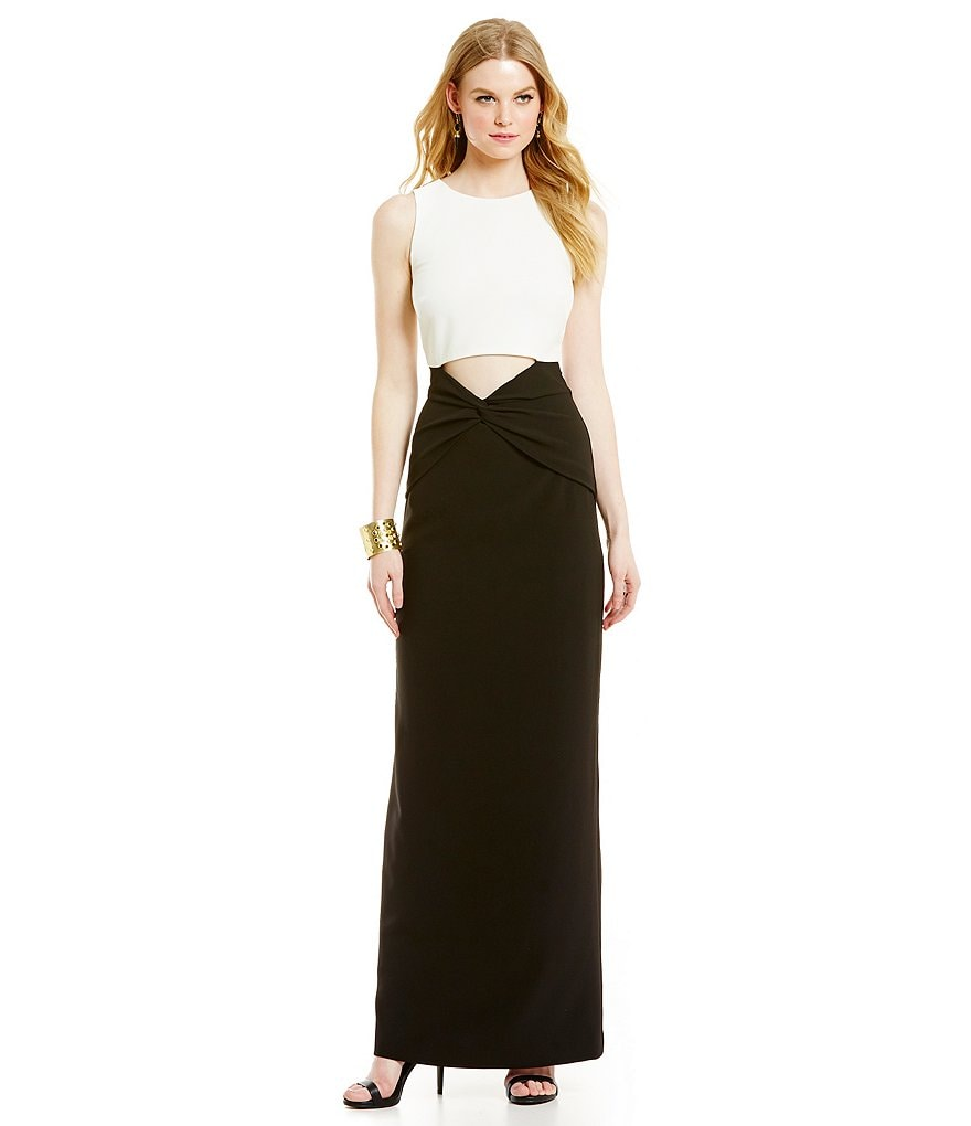 Nicole Miller Collection Techy Crepe Cut-Out Twist Gown