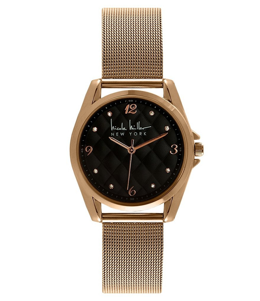 Nicole Miller New York Cushion-Dial Analog Mesh Bracelet Watch