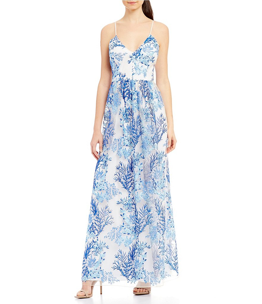Nicole Miller New York Embroidered Organza Gown