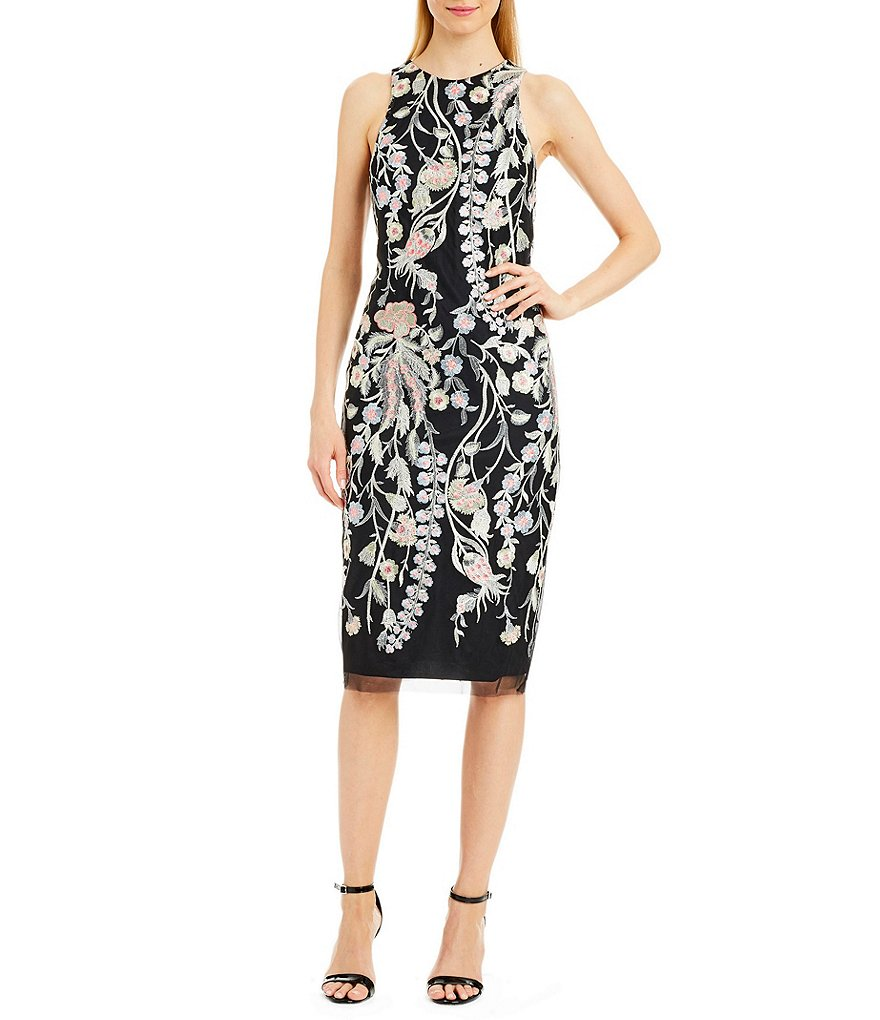 Nicole Miller New York Fitted Embroidered Dress