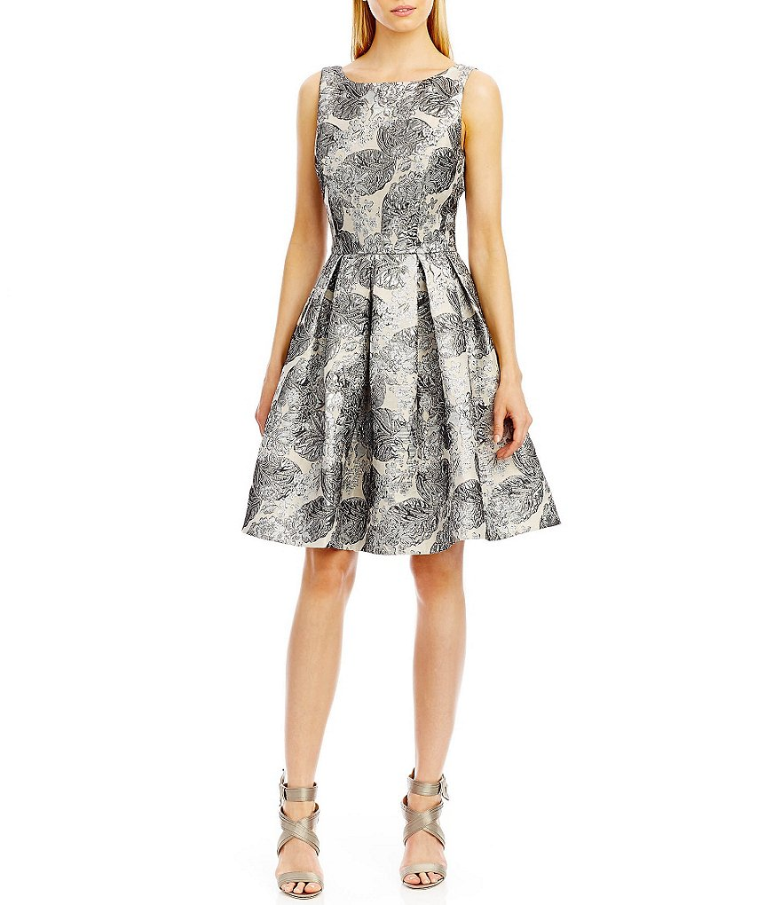 Nicole Miller New York Jacquard Sleeveless Party Dress