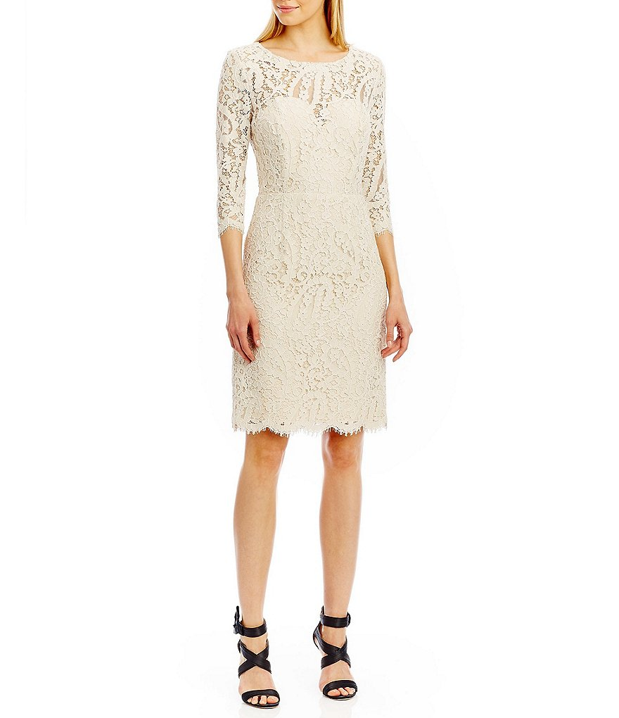 Nicole Miller New York Lace Long Sleeve Open Bow Back Dress