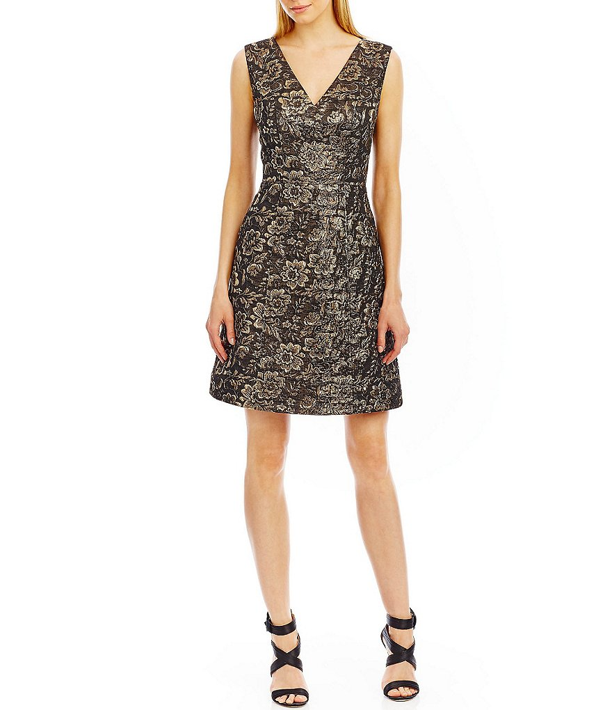 Nicole Miller New York Metallic Jacquard Party Dress
