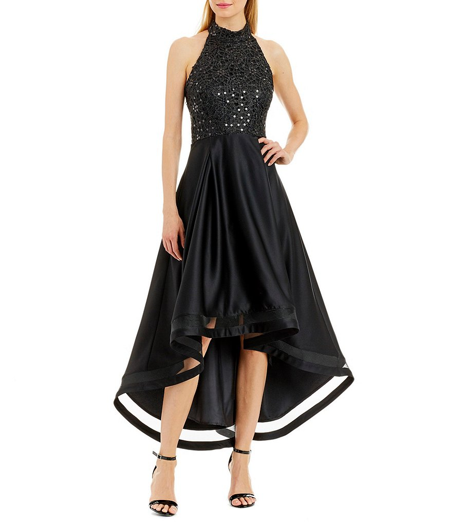 Nicole Miller New York Sequin Lace High-Low Halter Dress