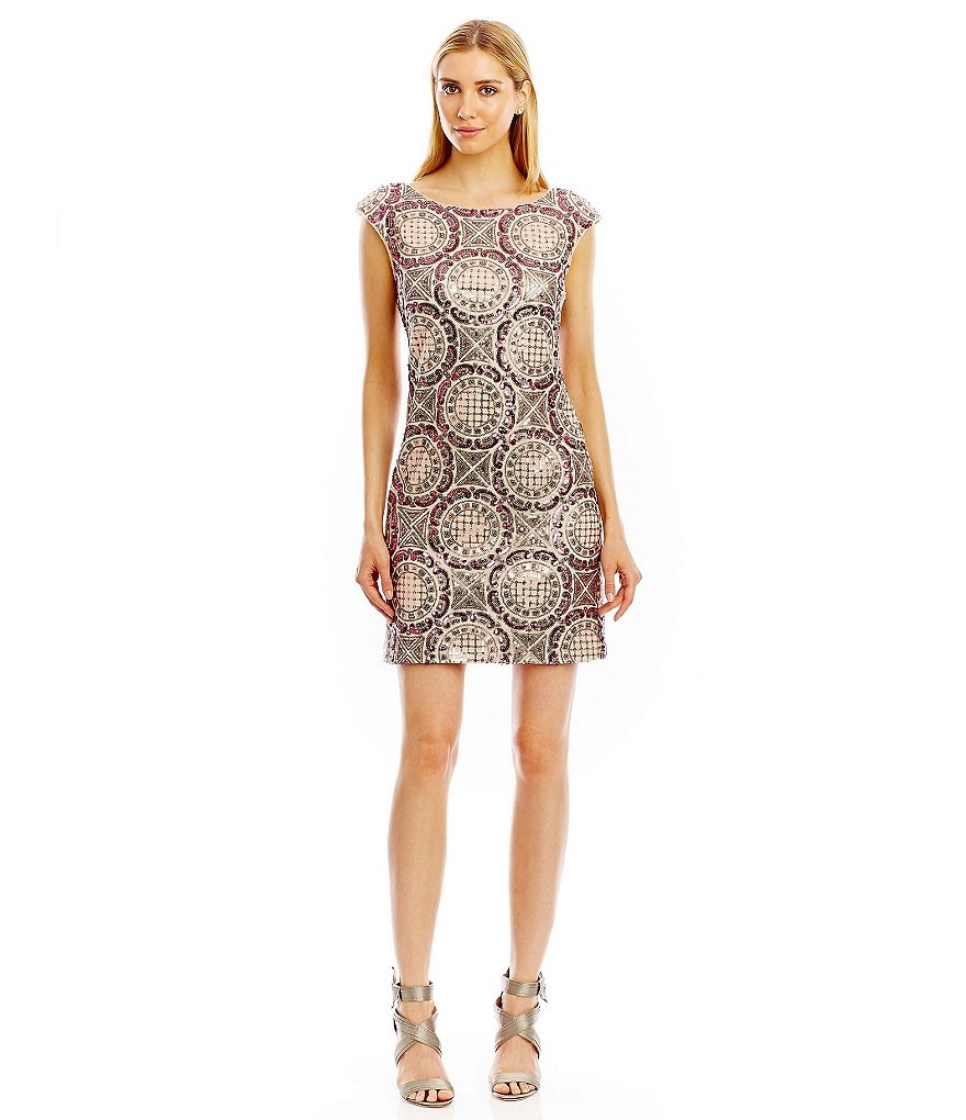 Nicole Miller New York Sequin Open-Back Cocktail Dress