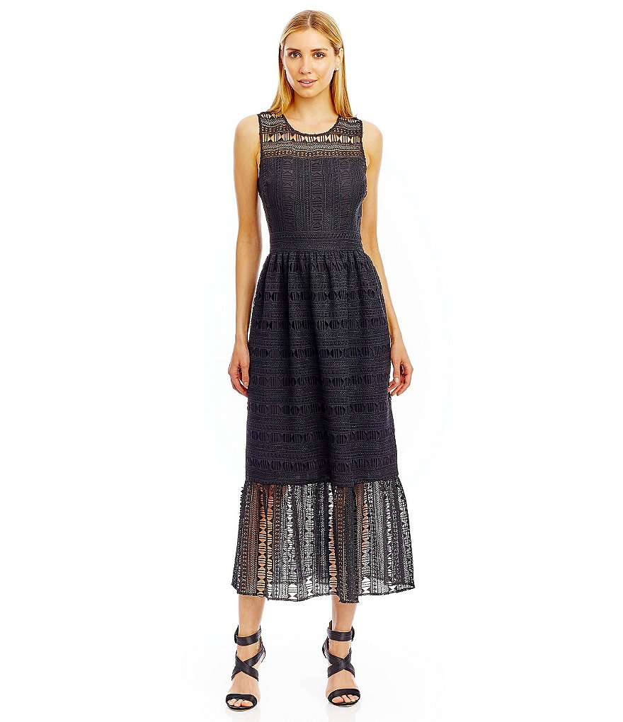 Nicole Miller New York Sleeveless Lace Midi Dress