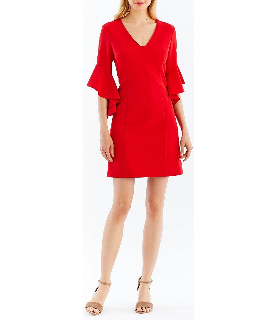 Nicole Miller New York Tie Back Flutter Bell Sleeve Dress