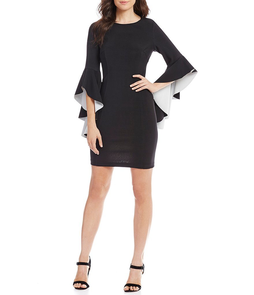Nicole Miller New York Two Tone Ruffle Bell Sleeve Sheath Dress ...