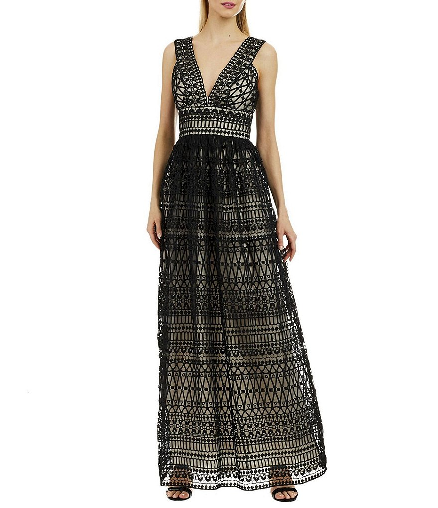 Nicole Miller New York V-Neck Lace Maxi Dress