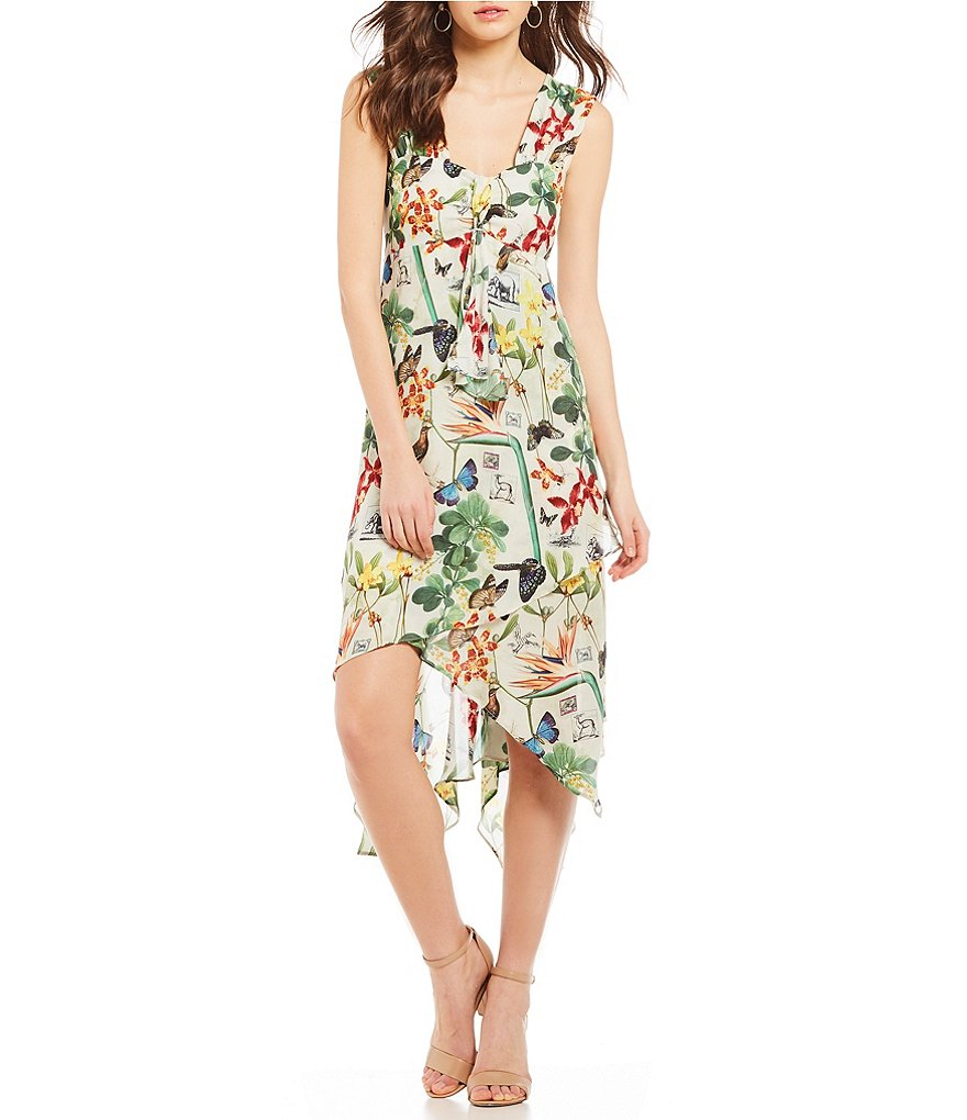 Nicole Miller Safari Foliage Floral Print Hi-Low Ruffle Dress