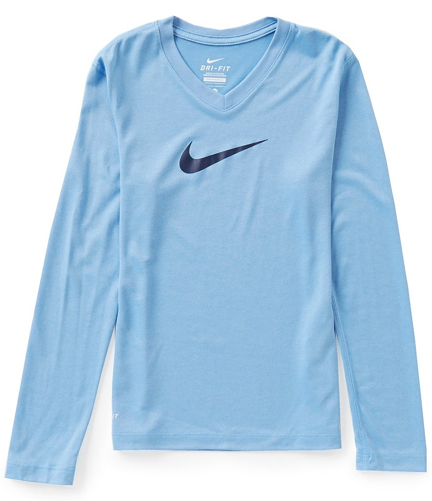 Nike Big Girls 7-16 Legend V-Neck Swoosh Tee
