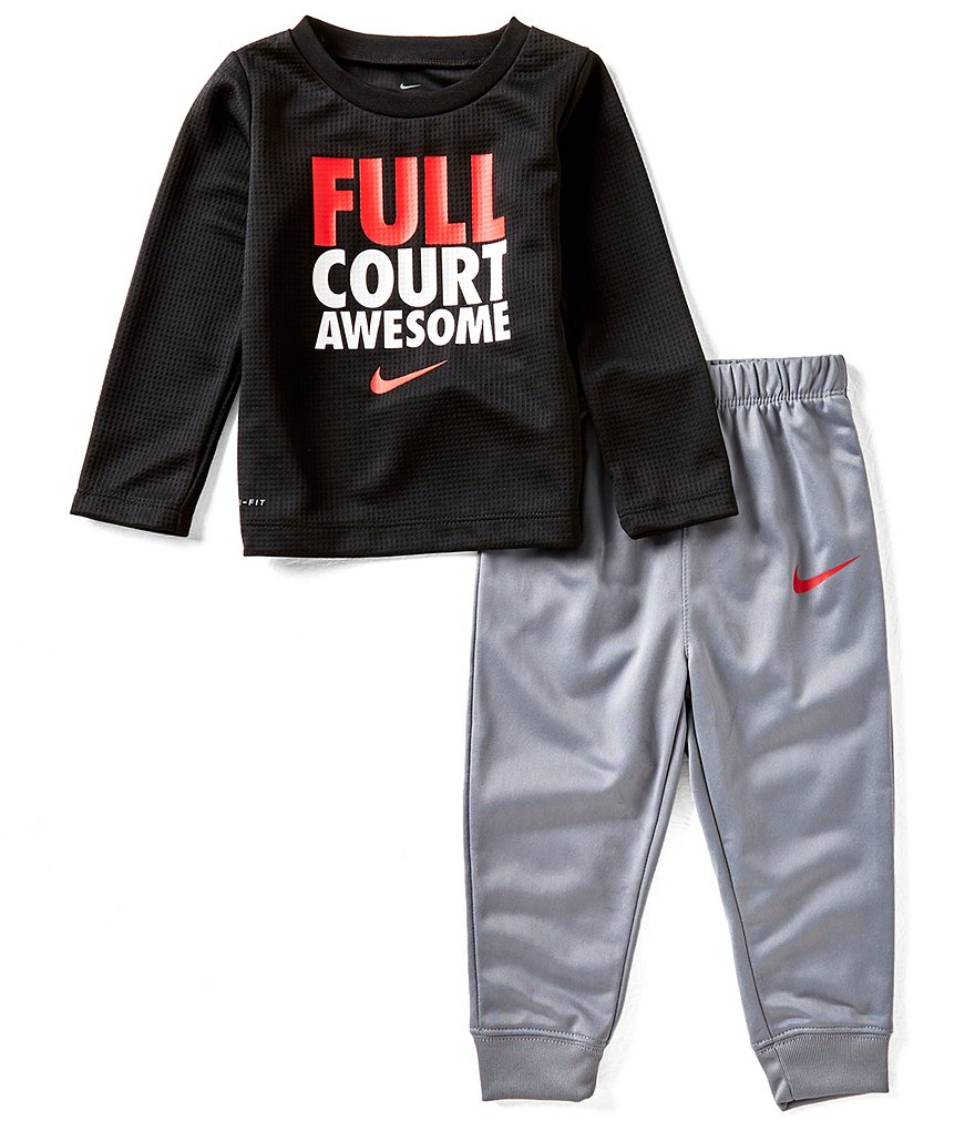 Nike Baby Boys 12-24 Months Dri-FIT Thermal Full Court Tee & Therma Fleece Pant Set