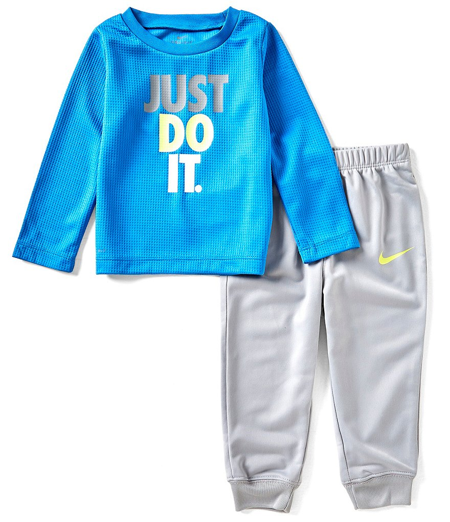 Nike Baby Boys 12-24 Months Dri-FIT Thermal Just Do It Tee & Therma Fleece Pant Set