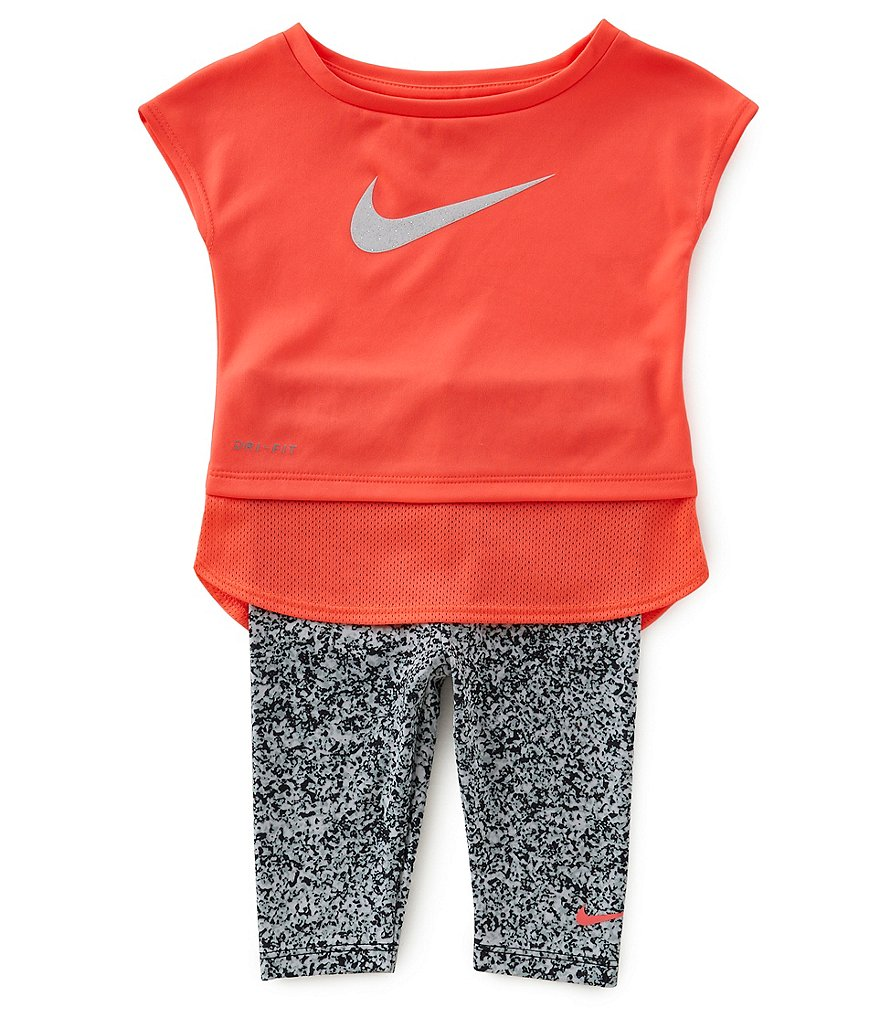 Nike Baby Girls 12-24 Months Dri-FIT Sport Essentials Tunic & Sublimation-Printed Capri Pant Set