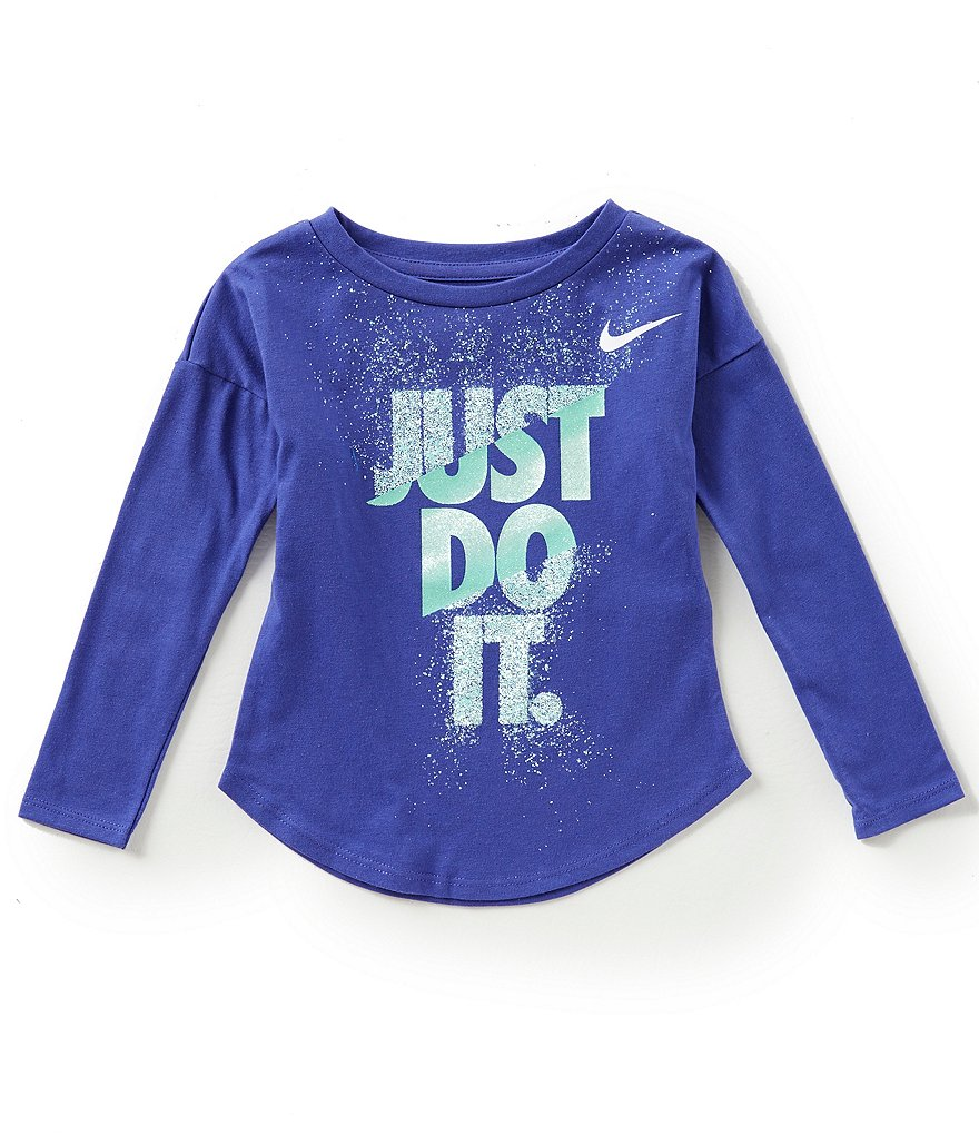 Nike Little Girls 2T-6X Hard Stop Just Do It Long-Sleeve Tee