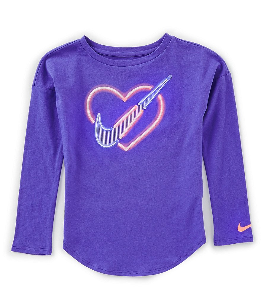 Nike Little Girls 2T-6X Long-Sleeve Neon Heart Tee