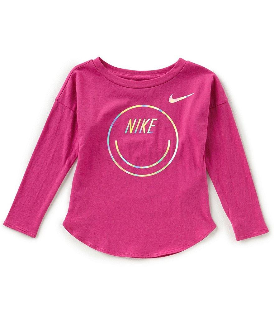 Nike Little Girls 2T-6X Smiley Modern Long-Sleeve Tee
