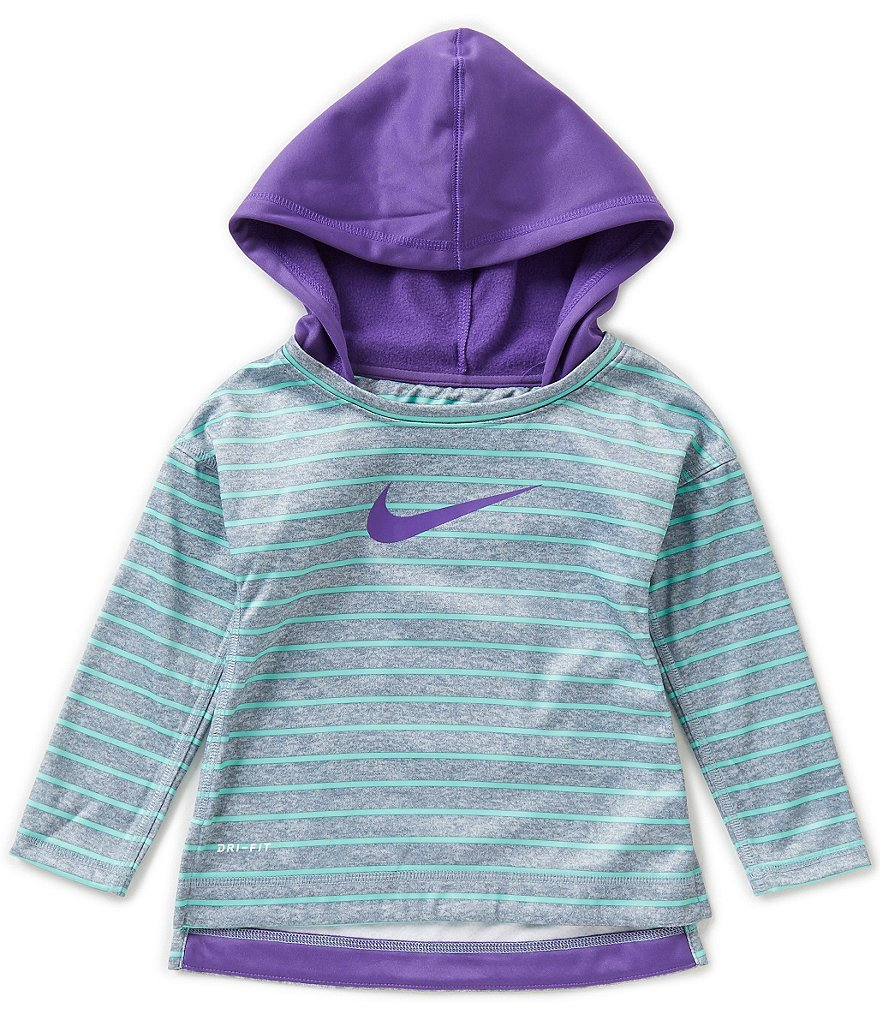 Nike Little Girls 2T-6X Therma Striped Tunic Hoodie