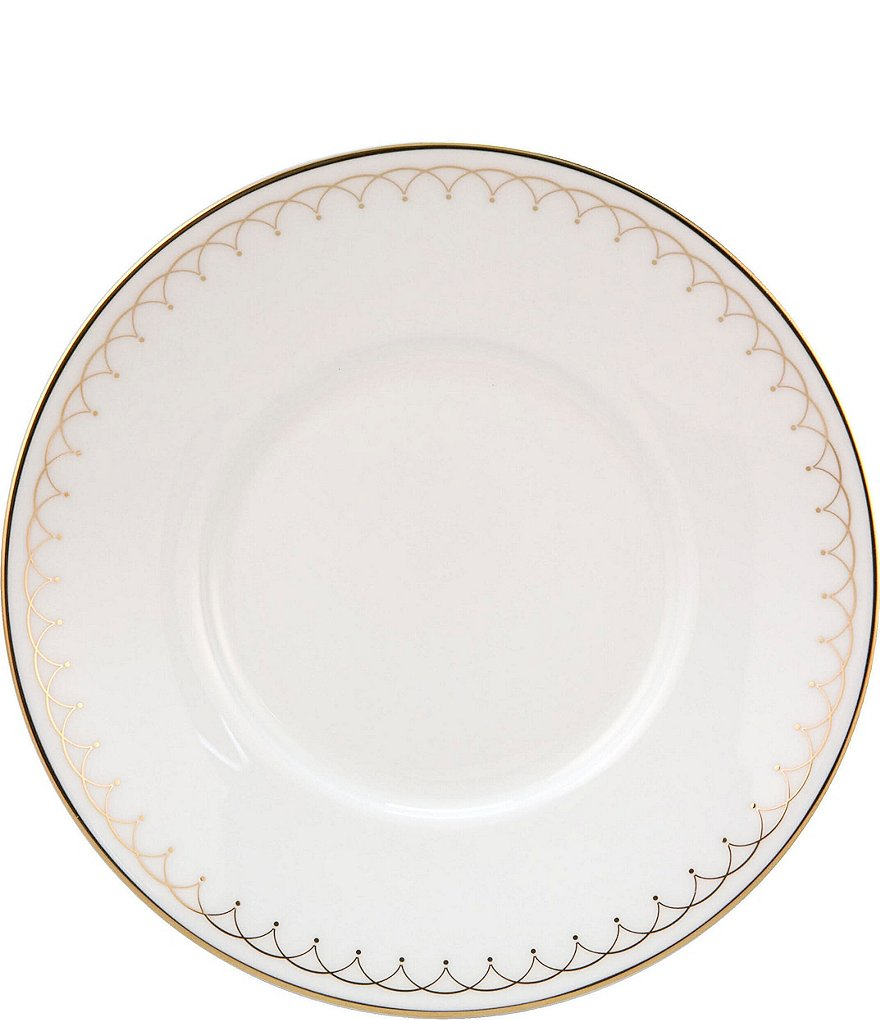 Nikko Lattice Gold Scalloped Bone China Saucer