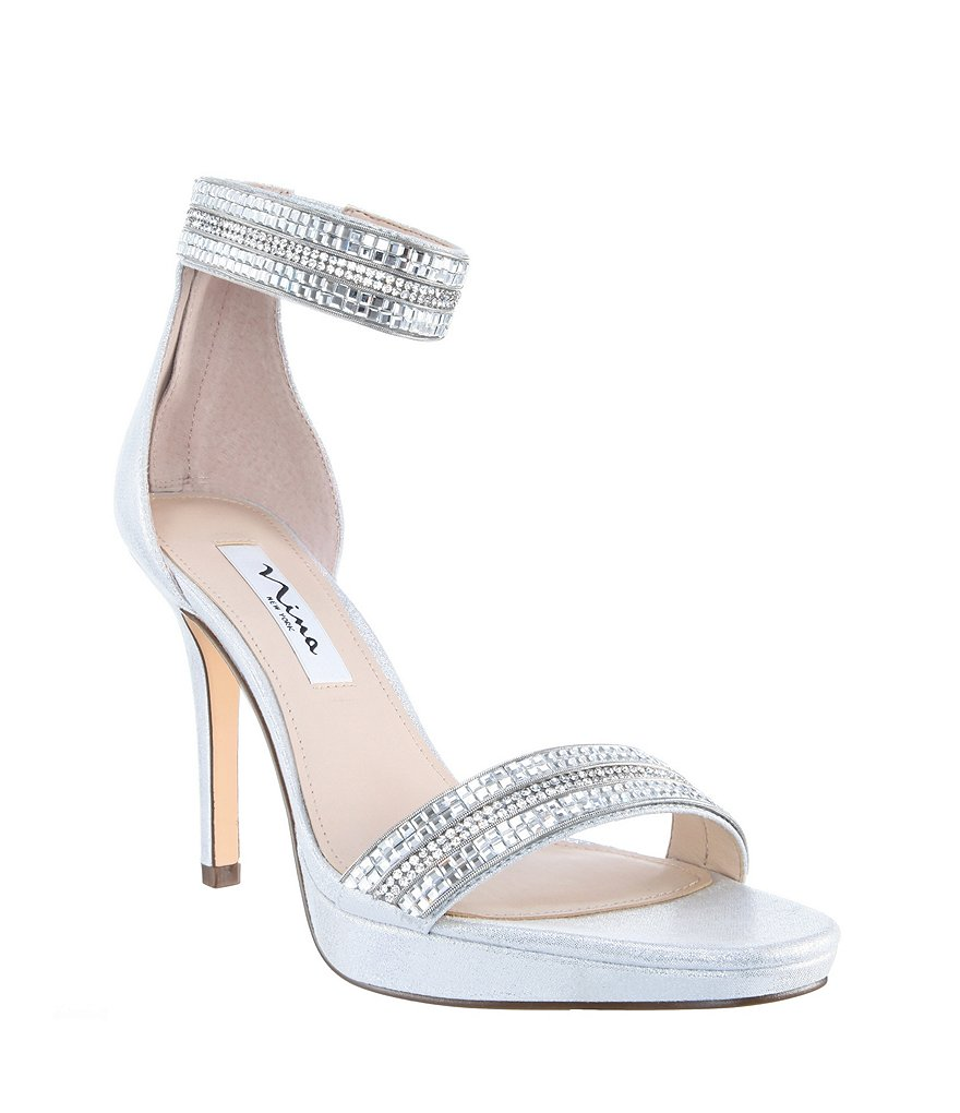 Nina Aubrie Crystal Ankle Strap Dress Sandals