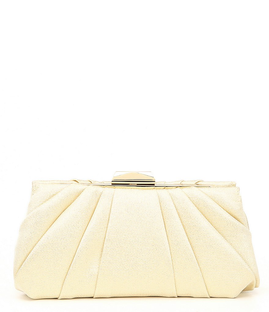 Nina Metallic Pleated Frame Clutch