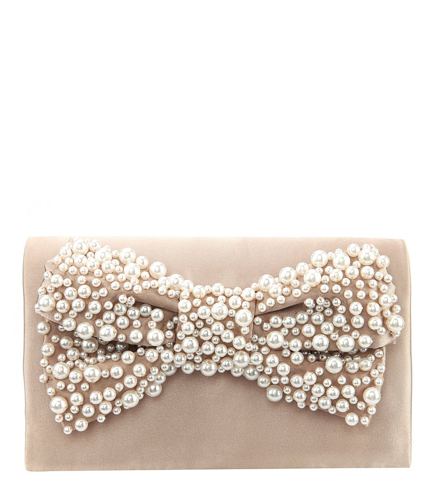 Nina Pearl Beaded Bow Clutch