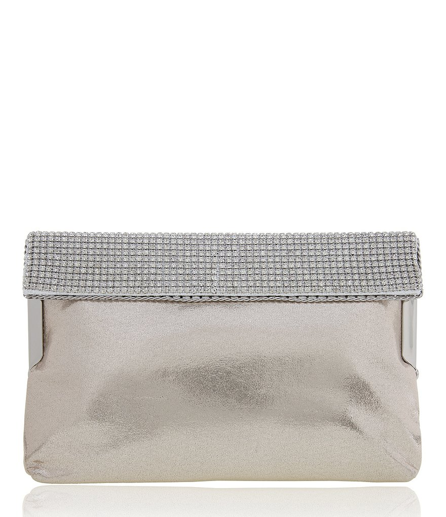 Nina Reflective Faux-Suede Clutch