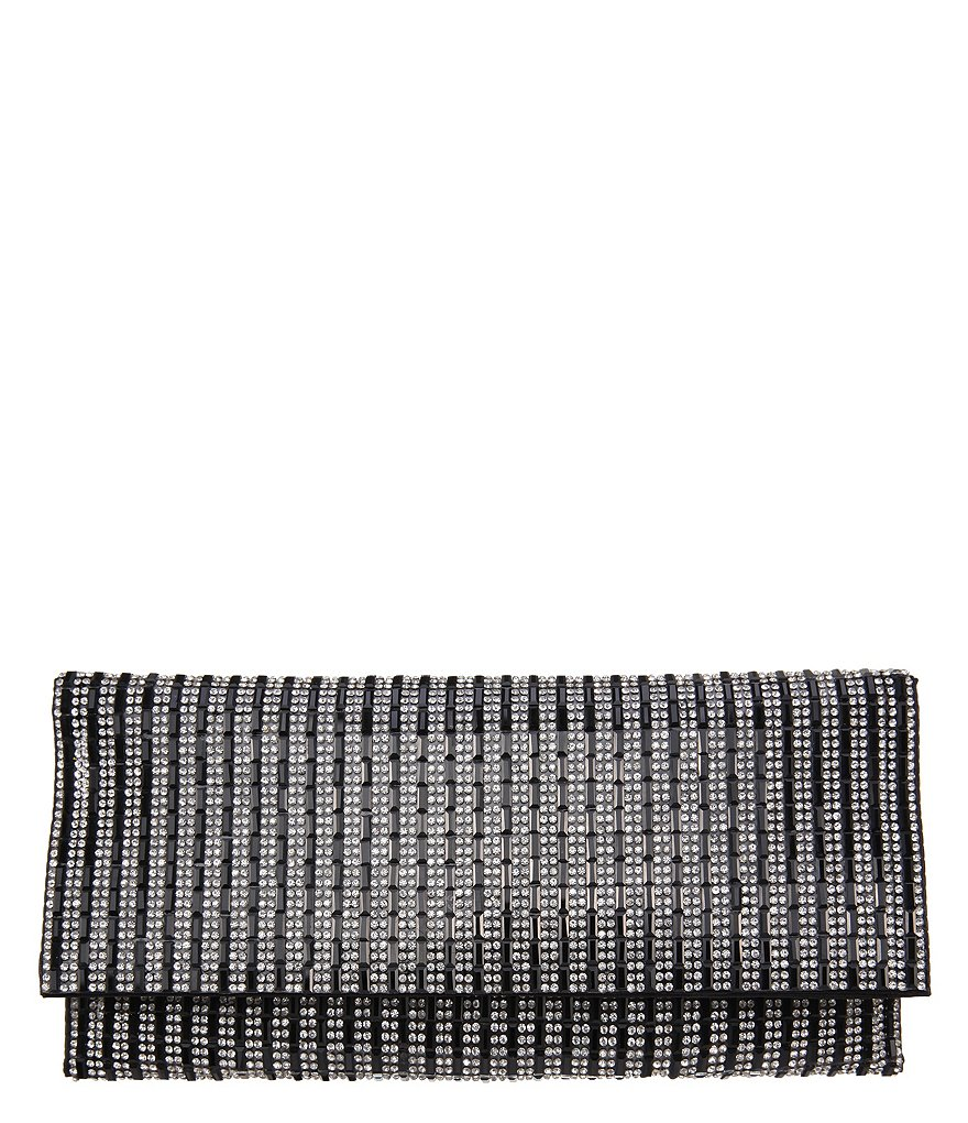 Nina Stripe Pattern Crystal Clutch