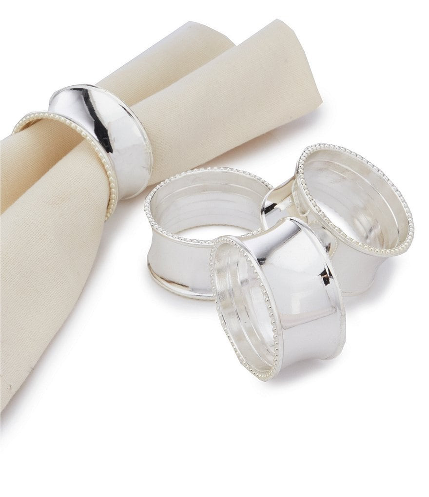 Noble Excellence Bead Elegance Napkin Rings, Set of 4