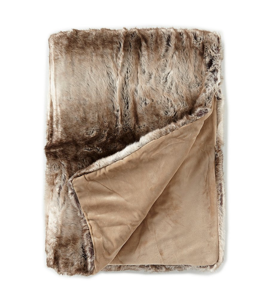 Noble Excellence Warm Shop Collection Gavin Striped Faux-Fur Throw