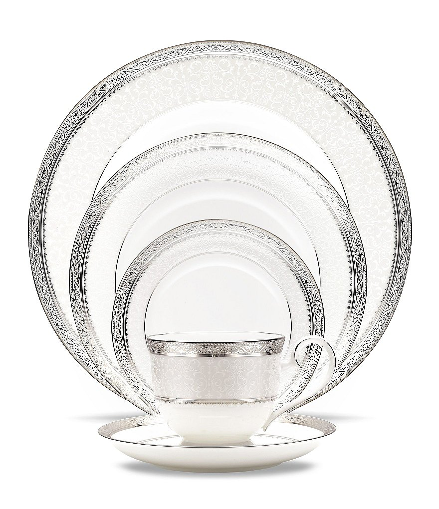 Noritake Odessa Etched Platinum & Floral China 5-Piece Place Setting