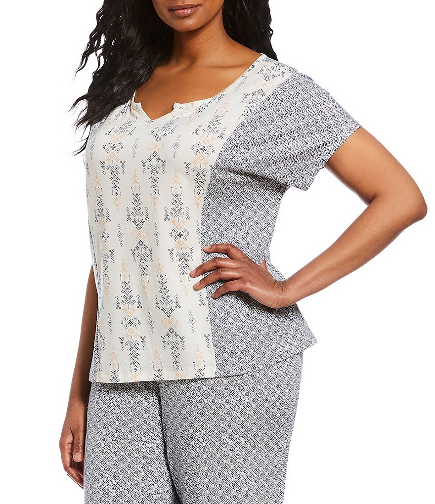 Nottibianche Plus Mixed-Print Sleep Top