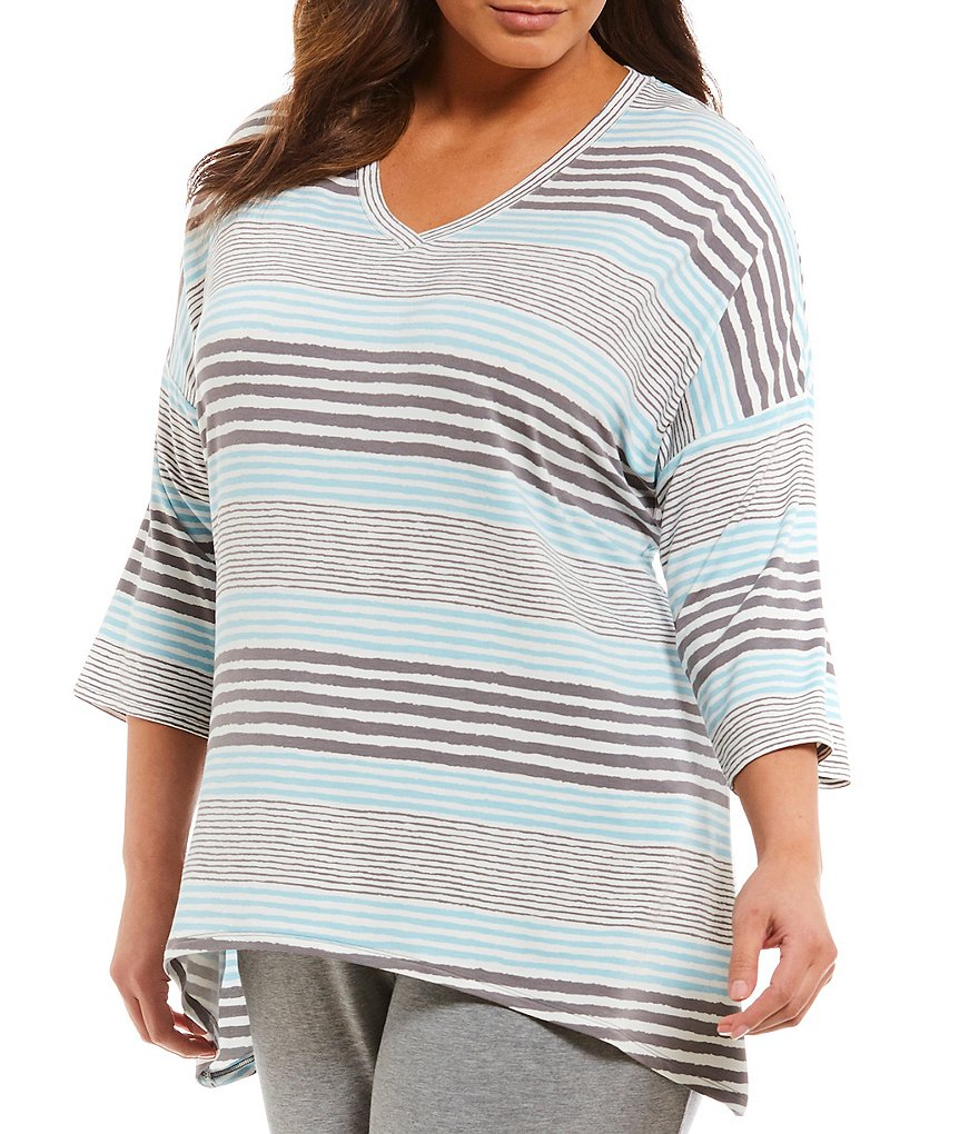 Nottibianche Plus Striped French Terry Sleep Top