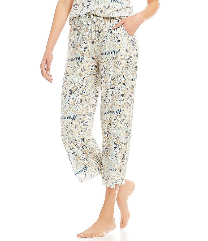 Nottibianche Stitched Geometric Print Cropped Knit Sleep Pants