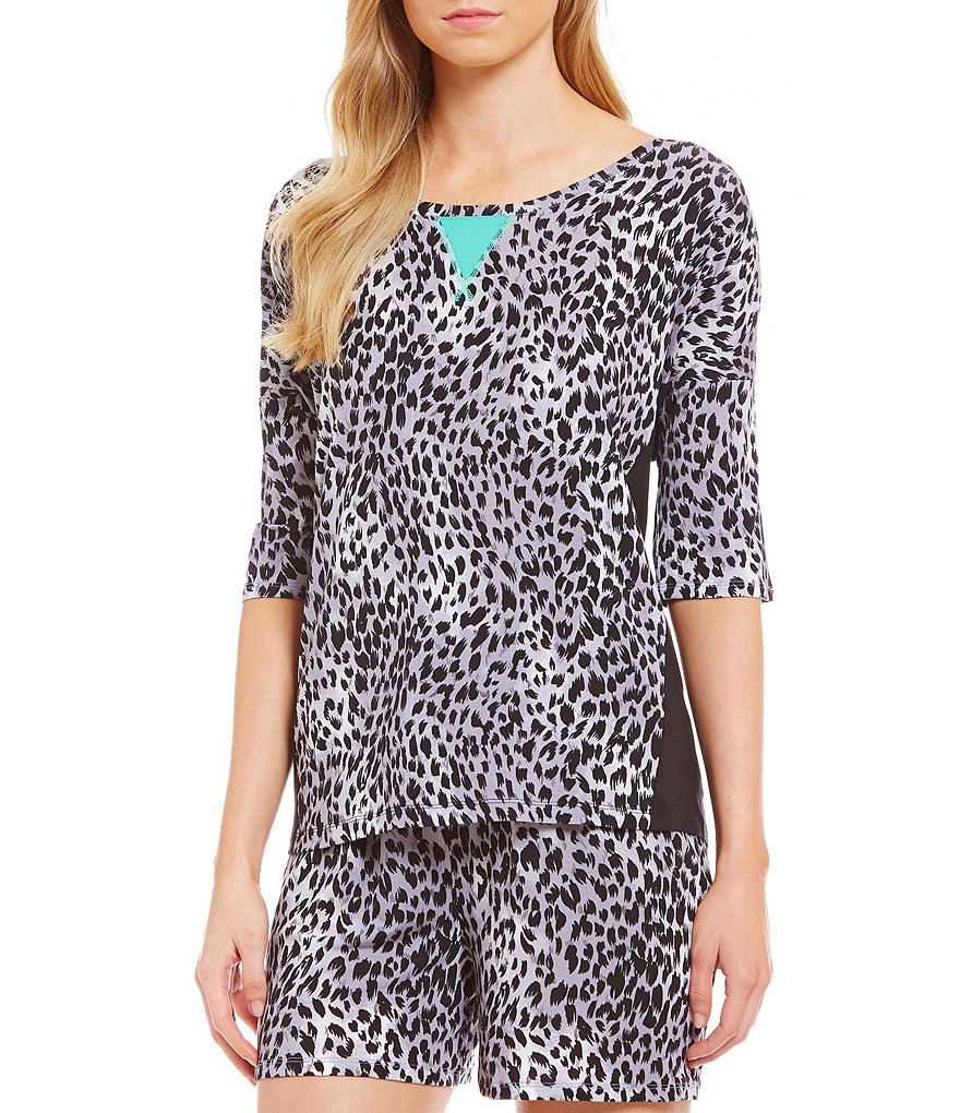 Nottibianche TEMPtations 3/4-Sleeve Animal-Print Sleep Top