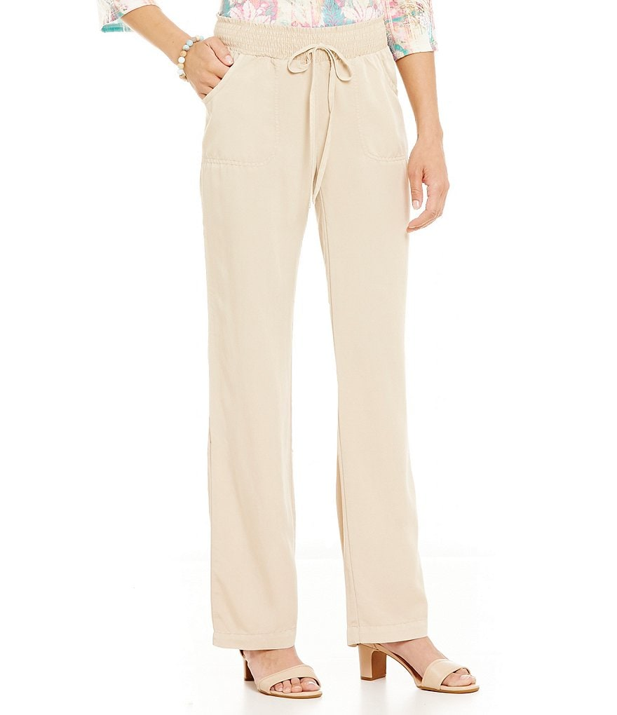 Nurture Drawstring Smocked Waist with Wide Leg Pant