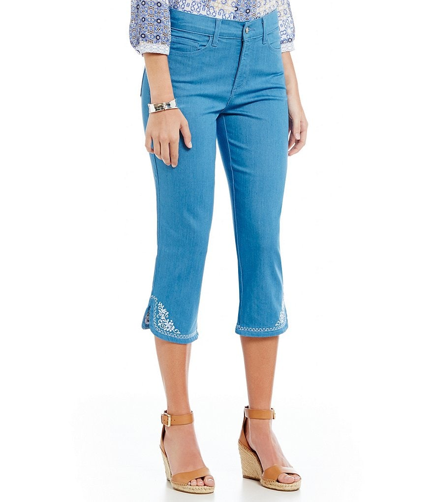 NYDJ Ariel Crop Jeans with Flower Embroidery
