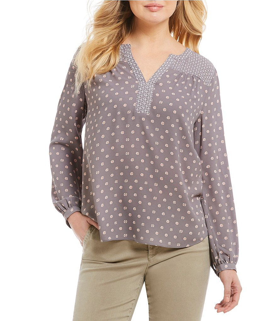 NYDJ Long Sleeve Petals Print Peasant Blouse