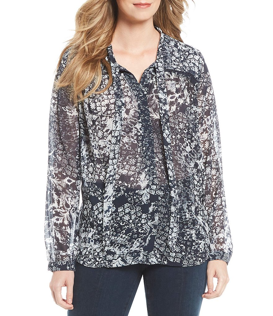 NYDJ Medallion Print Tie-Neck Blouse