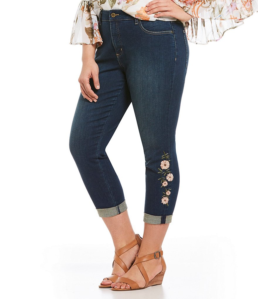 NYDJ Plus Alina Rolled Cuff Floral Embroidered Ankle Jeans