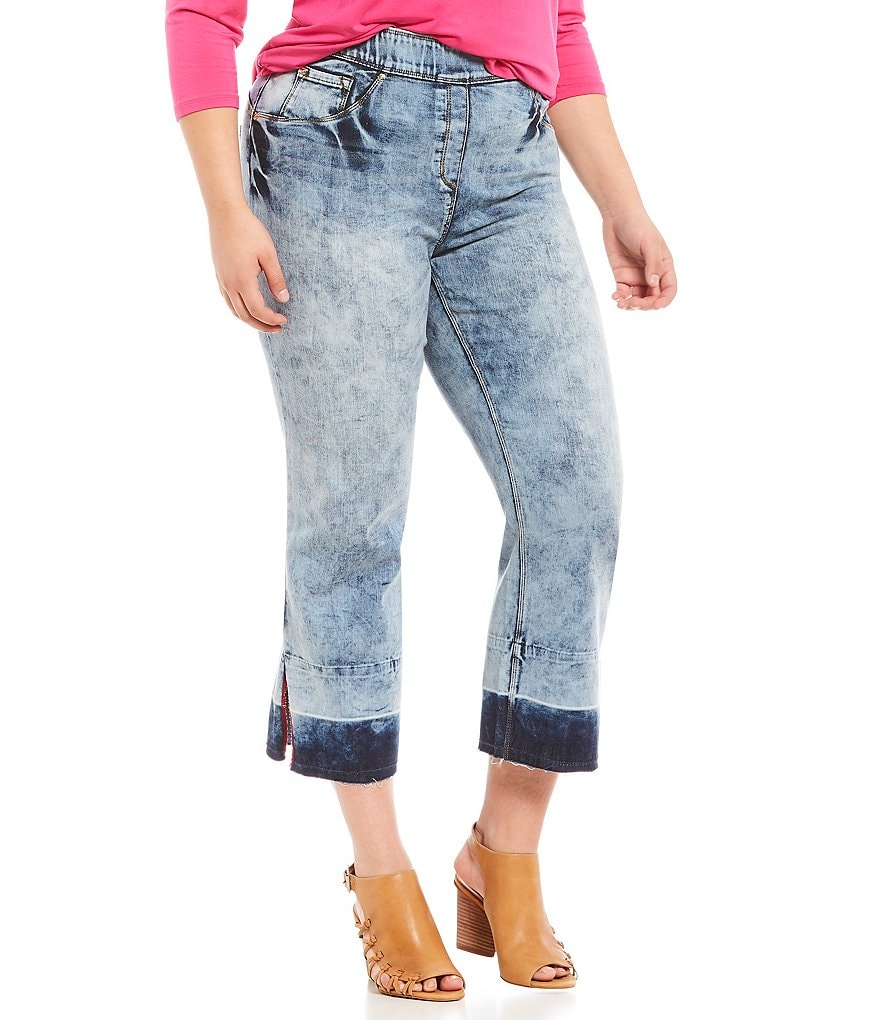 Nygard Slims Plus Luxe Denim Release Hem Cropped Jeans