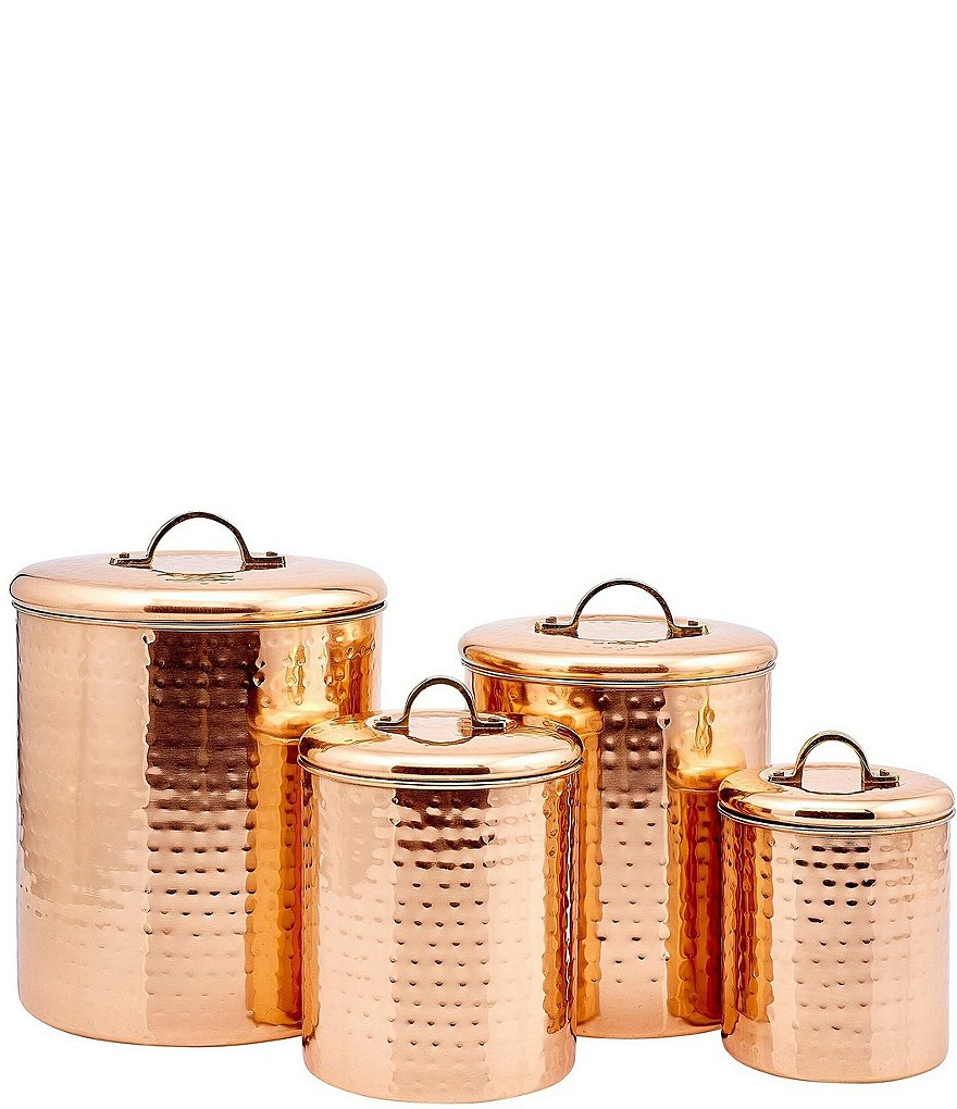 Old Dutch 4-Piece Décor Copper Hammered Canister Set