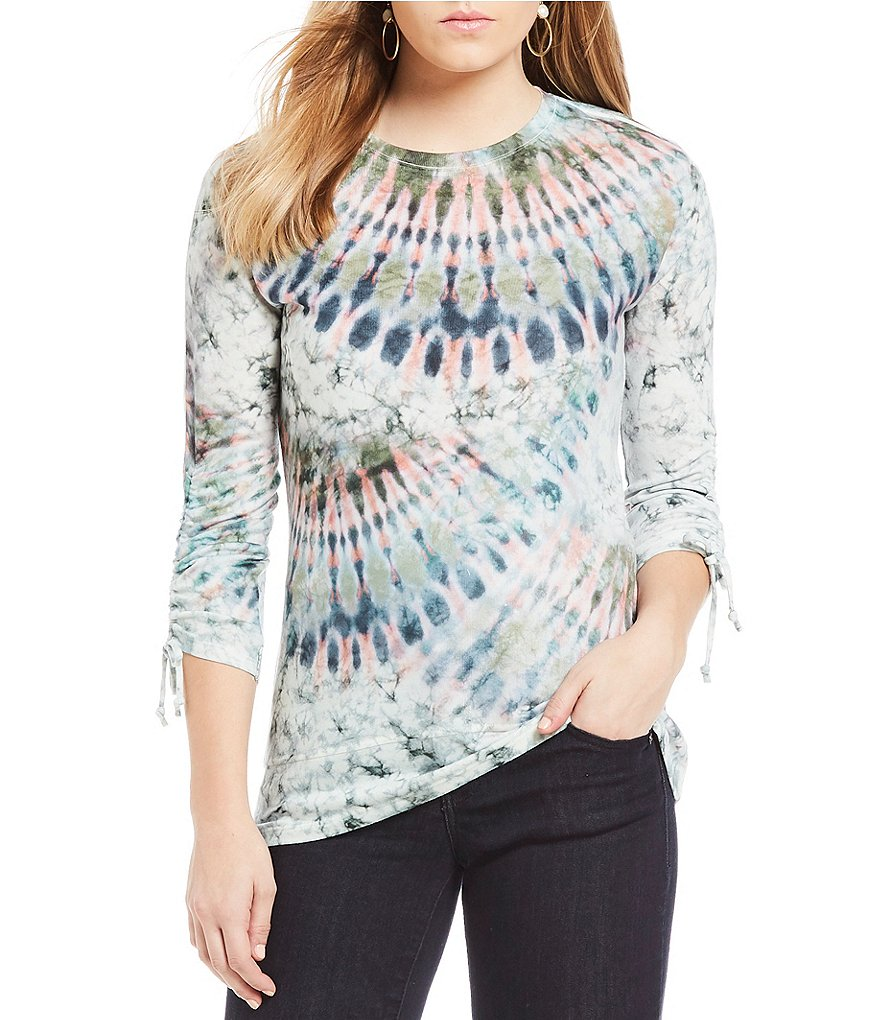 One World Apparel 3/4 Scrunched Sleeve Sublimate Print Top
