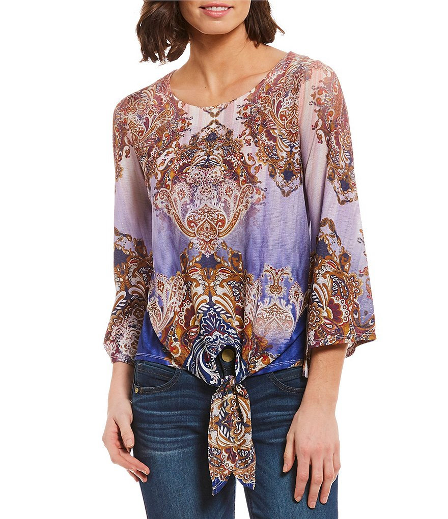 One World Apparel Angel 3/4 Sleeve Tie-Front Top