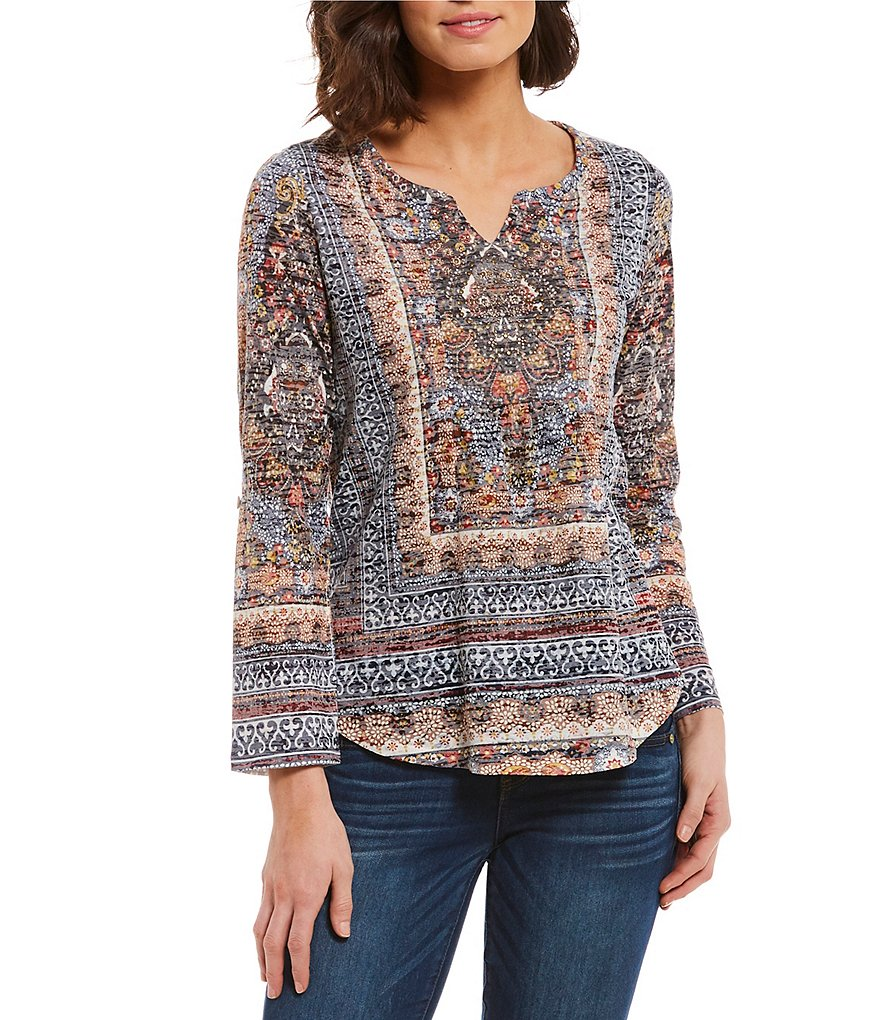 One World Apparel Embellished Notch Neck Burnout Roll-Tab Sleeve Tunic