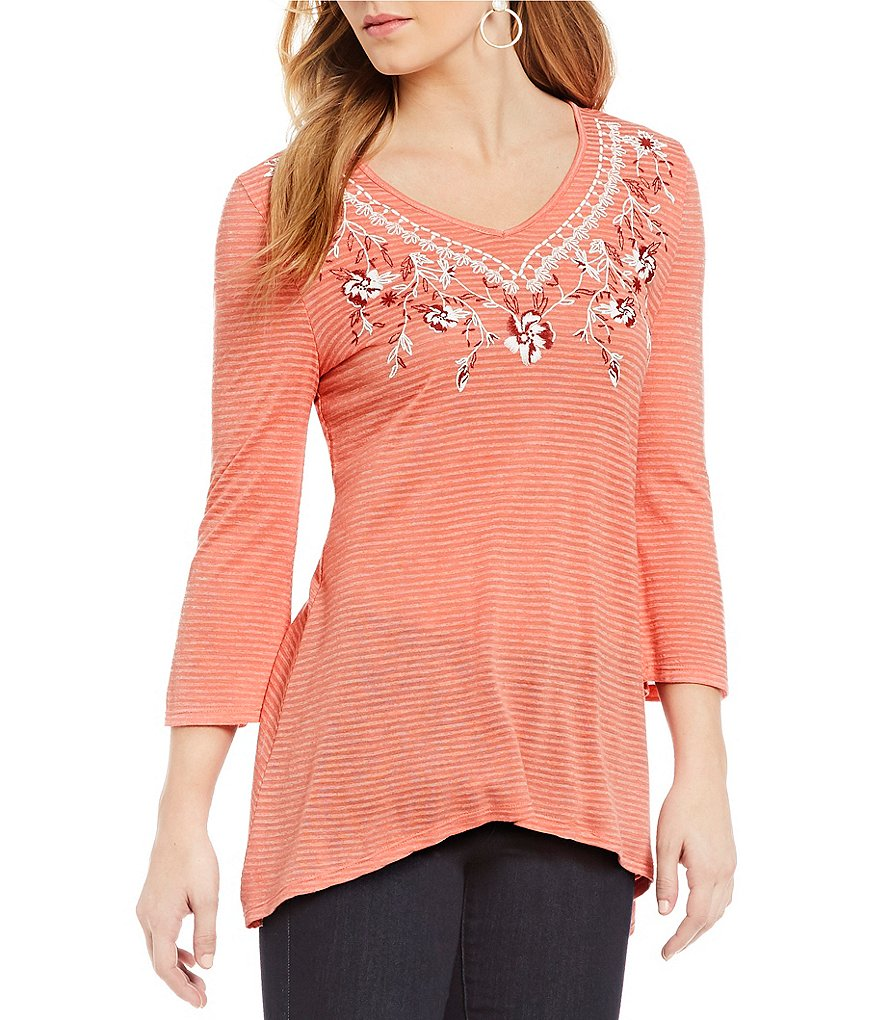 One World Apparel Faux Embroidered 3/4 Sleeve Top