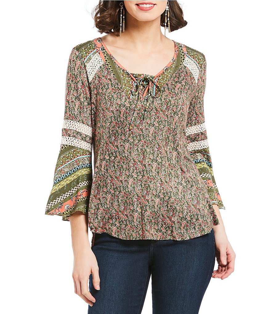 One World Apparel Long Flared Sleeve Top