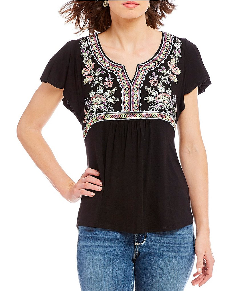 One World Apparel Petite Size Flutter Sleeve Embroidered Puff Print Top