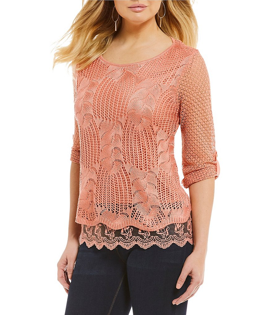 One World Apparel Petites Crochet Overlay Top